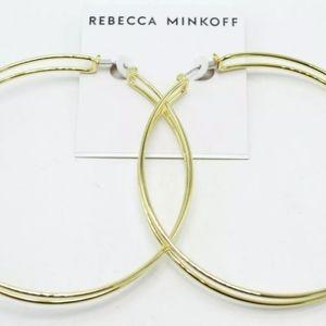 REBECCA MINKOFF DOUBLE THE DRAMA GOLD HOOP EARRING